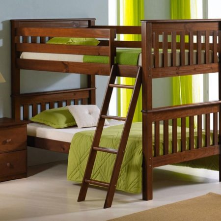 Oak Finish Solid Wood Mission Style Convertible Bunk Bed