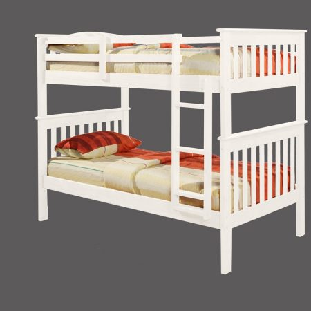 white mission style solid wood convertible bunk bed