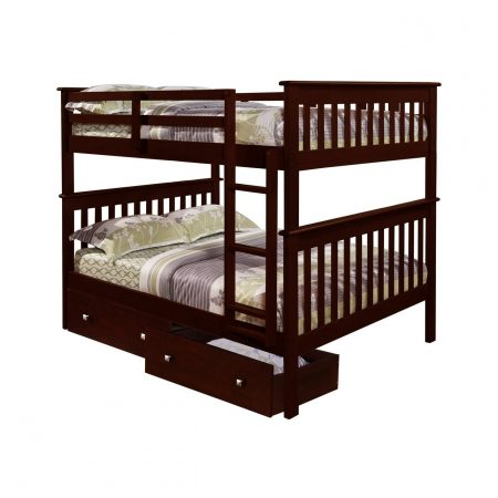 Solid Wood Espresso FULL Over FULL Bunk Bed W/ STORAGE DRAWERS!