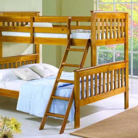 twin over full honey finish bunk bed