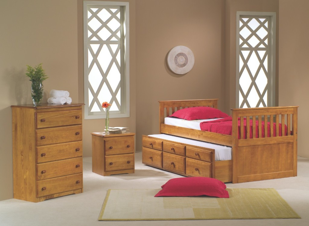 honey pine solid wood full sized captain's bed with trundle