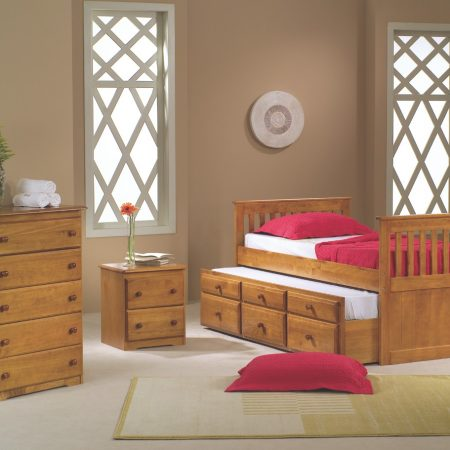 twin honey pine solid wood captain's bed with trundle in Houston