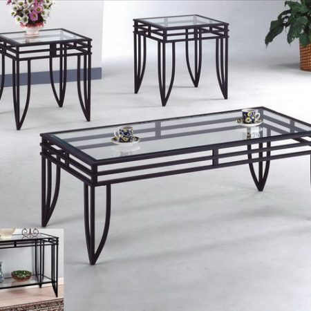 Black With Glass 3pc Coffee Table Set