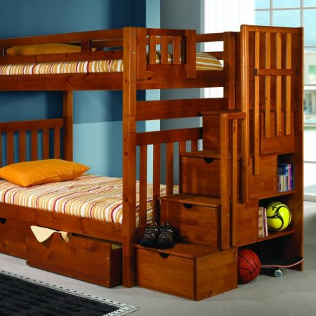 solid wood staircase bunk bed