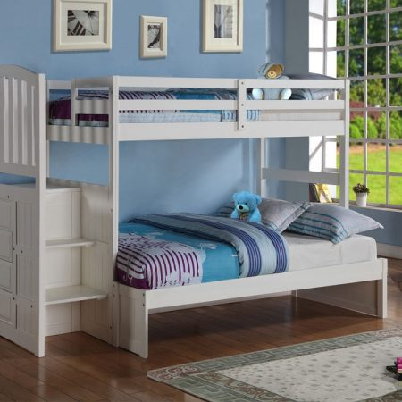 Twin Over Full White Staircase Bunk Bed