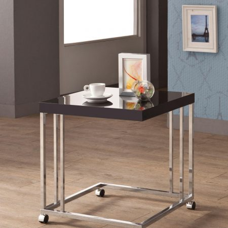 contemporary chrome with black snack table