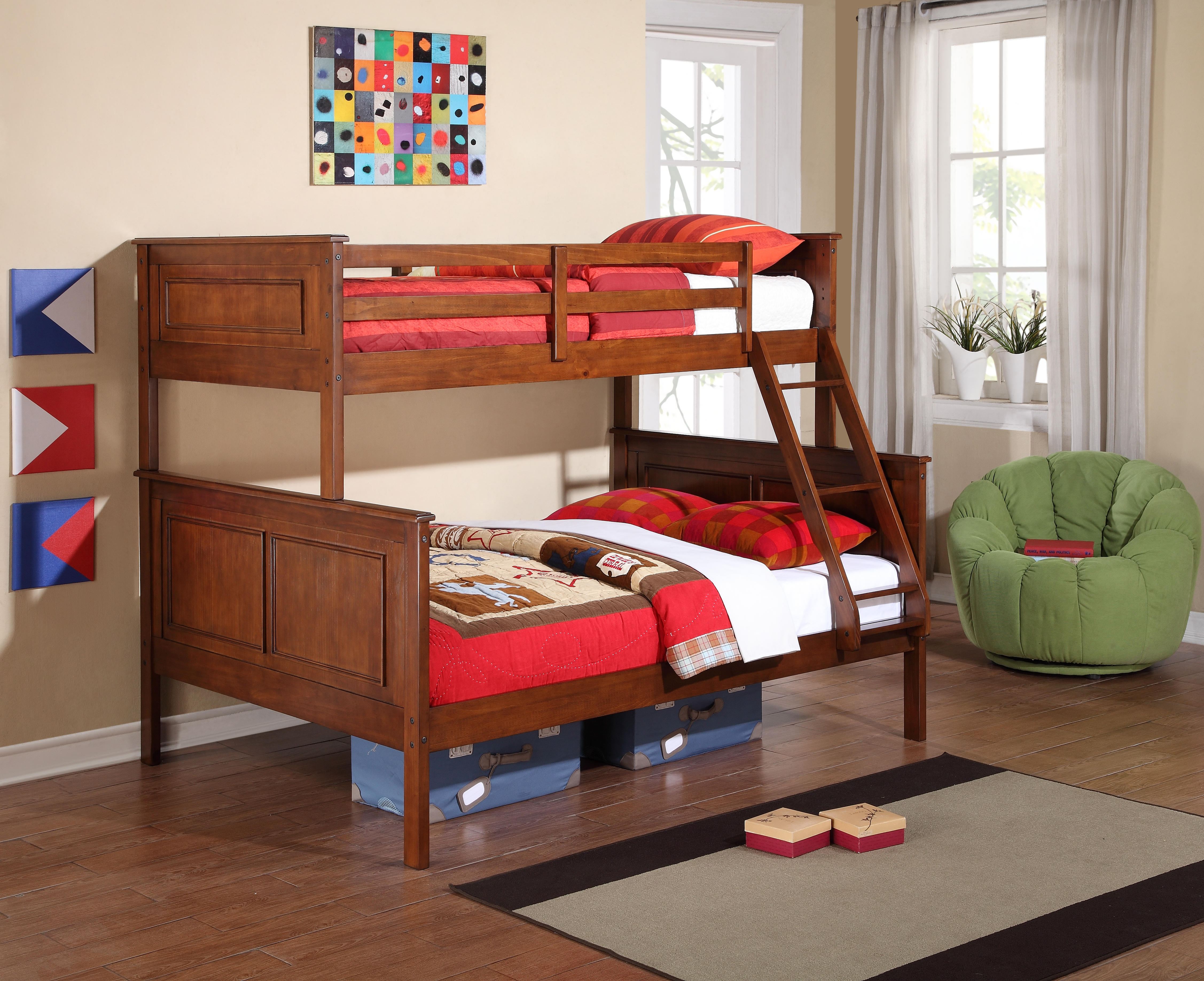 Solid Wood Harvest Brown Glaze Twin Over Full Bunk Bed