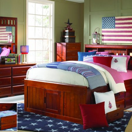 Solid Wood Full Size Captains Bed with Storage in Houston