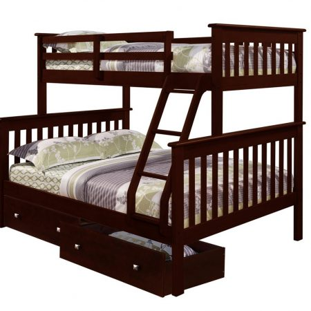 Espresso Twin Over Full Bunk Bed with Storage In Houston