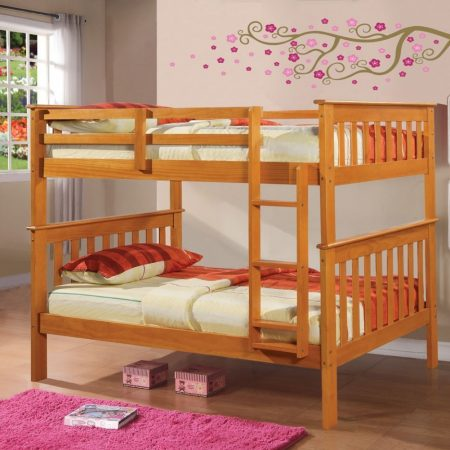 Twin Over Twin Honey Solid Wood Bunk Bed In Houston