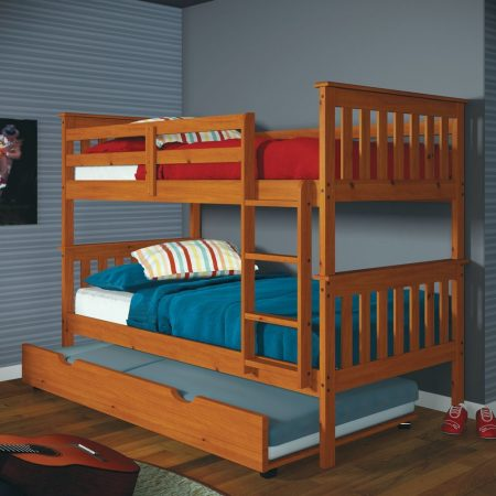 solid wood honey convertible triple bunk bed