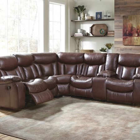 Ashley Amaroo Reclining Sectional - Genuine Leather In Houston