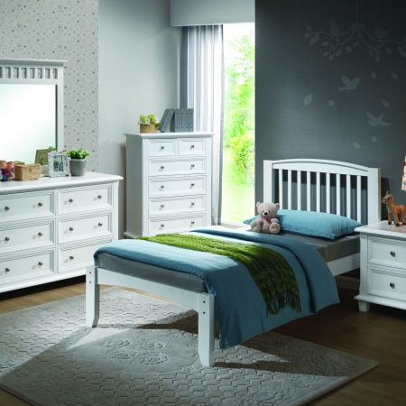 Solid Wood White Twin Size Bedroom Set In Houston
