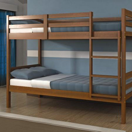 Dark Oak Finish Solid Wood Bunk Bed In Houston