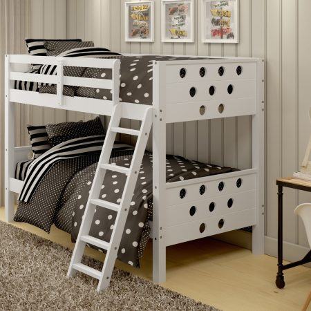 Circles WHITE SOLID WOOD Bunk Bed In Houston