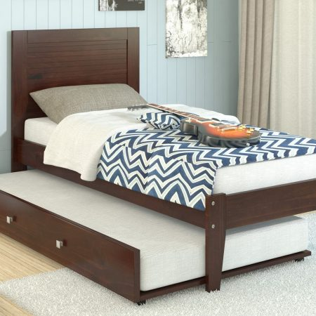 Espresso Solid Wood Twin Platform Bed With Trundle In Houston